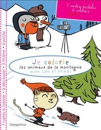 Mademoiselle Aligato - Je colorie les animaux de la montagne avec Léo et Mikki - 7 cartes postales à colorier.