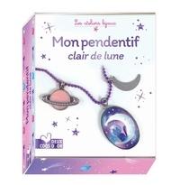 Mademoiselle Lupin et Ophélie Ortal - Mon pendentif clair de lune - Avec 1 cabochon et son support, 1 chaîne et son fermoir, 3 mini anneaux, 1 breloque lune, 1 breloque planête, 3 illustrations à découper et 1 tube de colle.