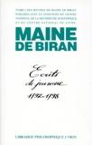 Maine de Biran - MAINE DE BIRAN - Tome 1, Ecrits de jeunesse 1792-1798.