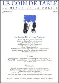 Jacques Réda et Charles Le Quintrec - Le coin de table N° 17, Janvier 2004 : La Poésie, L'Etat, Les pouvoirs.