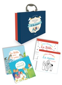 Maïte Roche - Ma petite valise pour aller à la messe - 4 volumes : Mon petit missel ; La Bible pour les petits ; Mes coloriages la Bible ; Mes coloriages la messe.