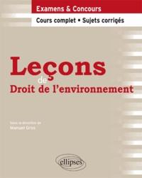 Manuel Gros - Leçons de droit de l'environnement cours complet et sujets corrigés.