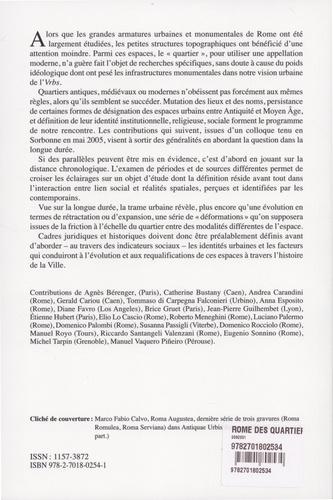 """""""Rome des quartiers"""" : des Vici aux Rioni. Cadres institutionnels, pratiques sociales, et requalifications entre Antiquité et époque moderne"""