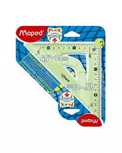 MAPED - Equerre 45° hypothénuse 21 cm Flex incassable - Coloris assortis