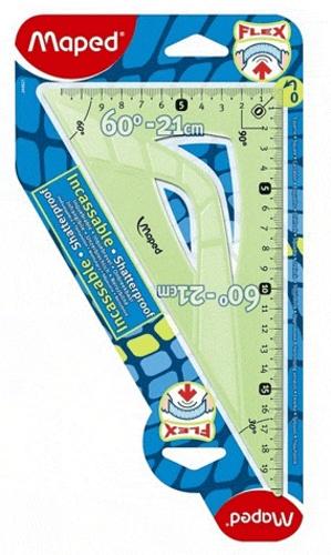 MAPED - Equerre 60° grand côté 21 cm Flex incassable - Coloris assortis