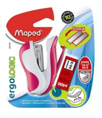 MAPED - Mini agrafeuse Ergologic + 400 agrafes 24/6 - Coloris assortis
