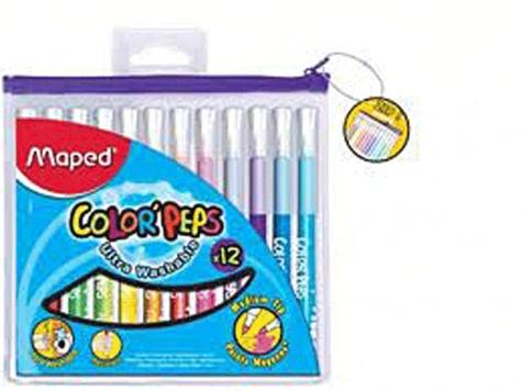 MAPED - Pochette zippée de 12 feutres Color'peps