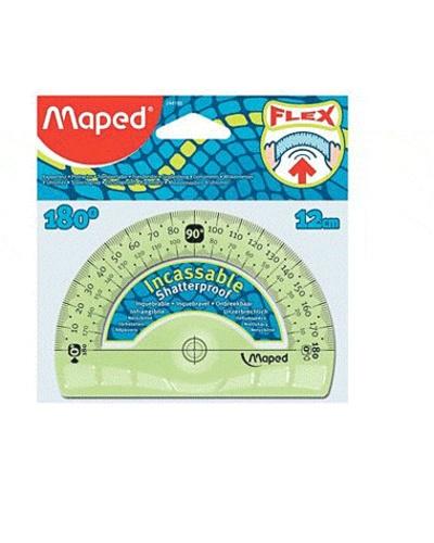 MAPED - Rapporteur 180° diamètre 12 cm Flex incassable - Coloris assortis