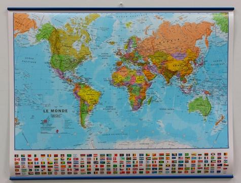 Maps International - Le monde politique - Carte plastifiée, avec listeaux métalliques 1/60 000 000.