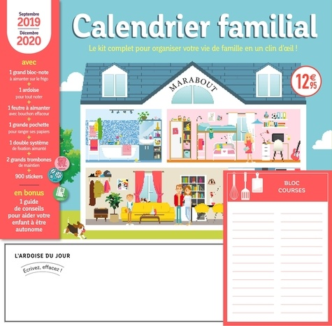 Marabout - Calendrier familial - Le kit complet pour organiser votre vie de famille en un clin d'oeil ! Avec un feutre effaçable aimanté.