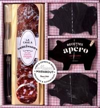 Marabout - La cave à saucisson et les 3 petits cochons - Contient : 1 cave à saucisson en bois avec planche de découpe, 1 couteau de type Laguiole, 2 ardoises cochons, 1 livre de recettes de planches apéro.