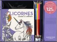 Marabout - Licorne - Coffret avec 1 carnet de coloriage, 5 marque-pages à colorier, 3 cartes à gratter, 4 crayons bicolores, 1 taille-crayon et 1 stylet.