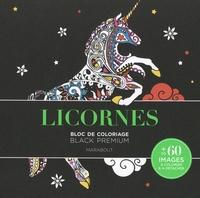 Marabout - Licornes - Carnet de coloriage black premium.