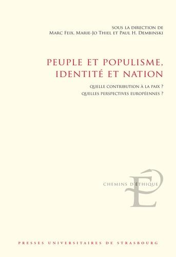 Marc Feix et Marie-Jo Thiel - Peuple et populisme, identité et nation - Quelle contribution à la paix ? Quelles perspectives européennes ?.