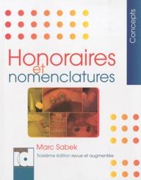Marc Sabek - Honoraires et nomenclatures.