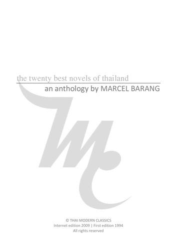 Marcel Barang - The 20 best novels of thailand - An anthology.