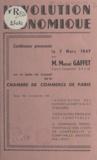 Marcel Gaffet - L'évolution économique - Conférence prononcée le 7 mars 1947.