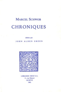 Marcel Schwob - Chroniques.