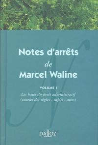 Notes darrêts de Marcel Waline - Volume 1, Les bases du droit administratif (sources des règles, sujets, actes).pdf