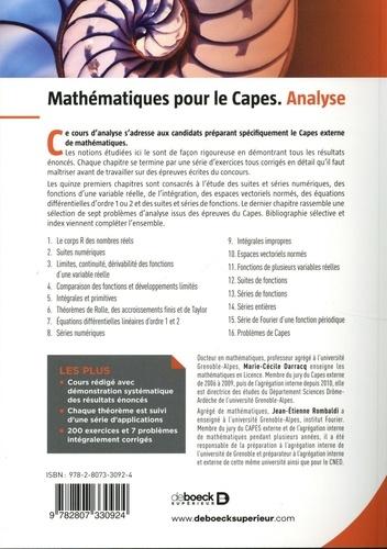 Mathématiques pour le Capes. Analyse