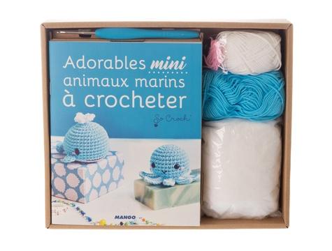 Coffret adorables mini animaux marins à crocheter. Avec 1 crochet, des pelotes, 4 yeux de sécurité, rembourrage