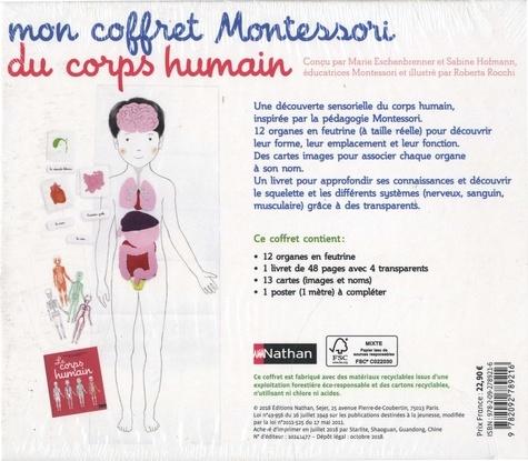 Mon coffret Montessori du corps humain. Avec 12 organes en feutrine, 1 livret avec 4 transparents, 13 cartes et 1 poster à compléter