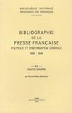 Marie-Hélène Deloraine - Bibliographie de la presse française politique et d'information générale, 1865-1944 - Haute-Marne (52).