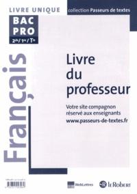 Français 2e/1e/Tle Bac Pro- Livre du professeur - Marie-Hélène Dumaître |