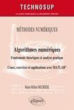 Marie-Hélène Meurisse - Algorithmes numériques : fondements théoriques et analyse pratique - Cours, exercices et applications avec MATLAB.