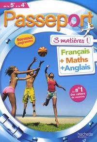 Passeport - français-maths-anglais- De la 5e à la 4e - Marie-Hélène Robinot-Bichet |