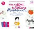 Marie Kirchner et Roberta Rocchi - Mon coffret de lecture Montessori - Contient : 30 cartes images, 120 lettres mobiles, 30 tickets de lecture, 1 casier de rangement des lettres, 1 livre pour accompagner les parents.