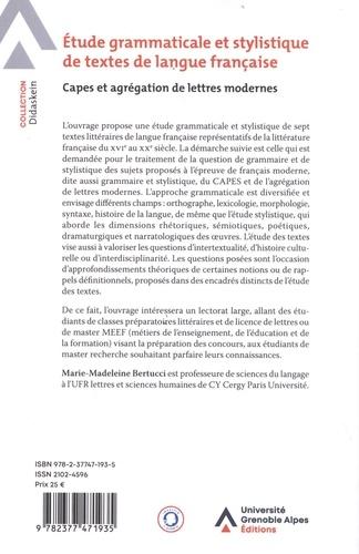Etude grammaticale et stylistique de textes de langue française. Capes et agrégation de lettres modernes