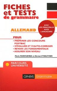 Marie Marhuenda et Bernard Viselthier - Fiches et tests de grammaire Allemand avec corrigés - Niveau B2/C1.