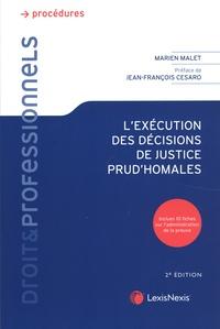 Marien Malet et Jean-François Cesaro - L'exécution des décisions de justice prud'homales.