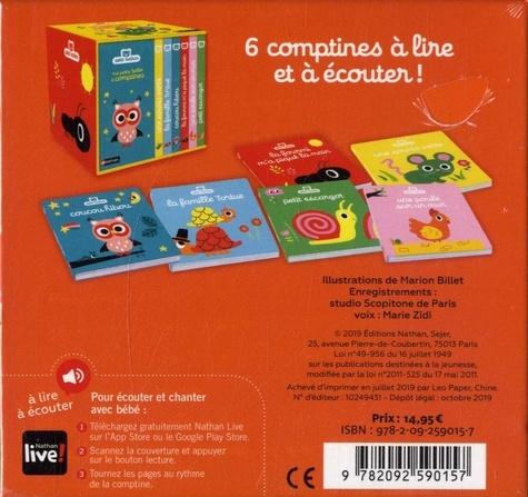 Ma petite boîte à comptines. Coffret en 6 volumes : Une souris verte ; La famille tortue ; Coucou hibou ; La fourmi m'a piqué la main ; Une poule sur un mur ; Petit escargot