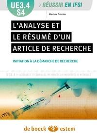 Marlyne Dabrion - L'analyse et le résumé d'articles de recherche - UE3.4 S4, Initiation à la démarche de recherche.