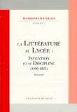 Martine Jey - La littérature au lycée - Invention d'une discipline (1880-1925).