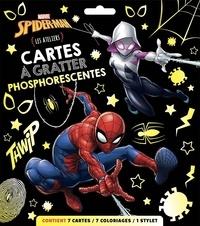 Marvel - Cartes à gratter phosphorescentes Spider-Man - Les Ateliers. Avec 7 cartes, 7 coloriages et 1 stylet.