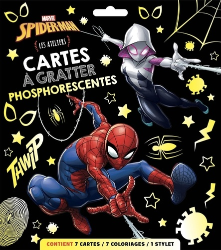 Cartes à gratter phosphorescentes Spider-Man. Les Ateliers. Avec 7 cartes, 7 coloriages et 1 stylet