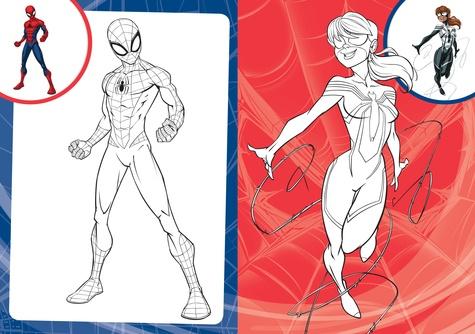 Mes coloriages avec des stickers Spider-Man