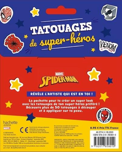 Tatouages de super-héros Spider-man. Avec plus de 50 tatouages éphémères et 7 coloriages
