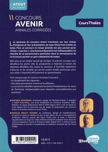 Concours Avenir. Annales corrigées Physique et Mathématiques de 2016 à 2019