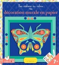 Mathilde Bourgon - Décoration murale en papier Le papillon - Avec 2 feuilles imprimées prédécoupées, 1 planche d'autocollants fluo, 1 cadre en papier à monter, 1 attache en papier, 1 tube de colle.