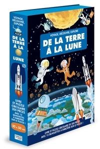 Accentsonline.fr De la Terre à la Lune - Livre et puzzle circulaire de 200 pièces avec 12 silhouettes à emboîter sur le puzzle! Image