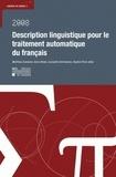 Matthieu Constant et Anne Dister - Description linguistique pour le traitement automatique du français.