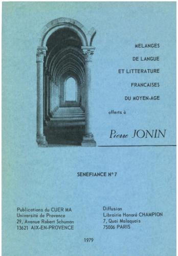 Maurice Accarie et Jean Arrouye - Mélanges de langue et littérature françaises du Moyen Âge offerts à Pierre Jonin.