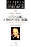 Maurice Blondel - MEMOIRE A MONSIEUR BIEIL. - Discernement d'une vocation philosophique.