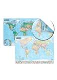 Express Map - Carte du monde : politique et physique - Carte murale 1/21 500 000, double face, laminée avec barres 138 x 98 cm.
