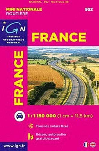 IGN - France, mini carte routière - 1/ 1 150 000.