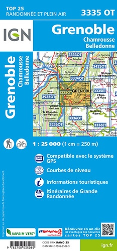 Grenoble, Chamrousse, Belledonne. 1/25 000